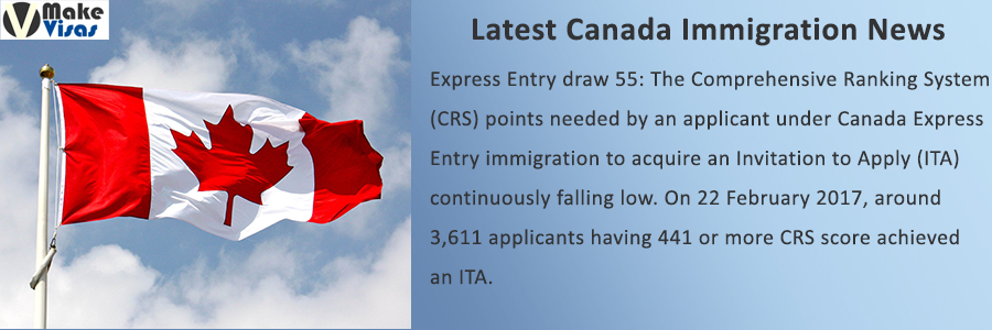 Express Entry draw 55: CRS Requirement falling to further Low