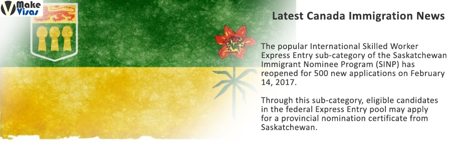Saskatchewan Express Entry Immigration Category Opened
